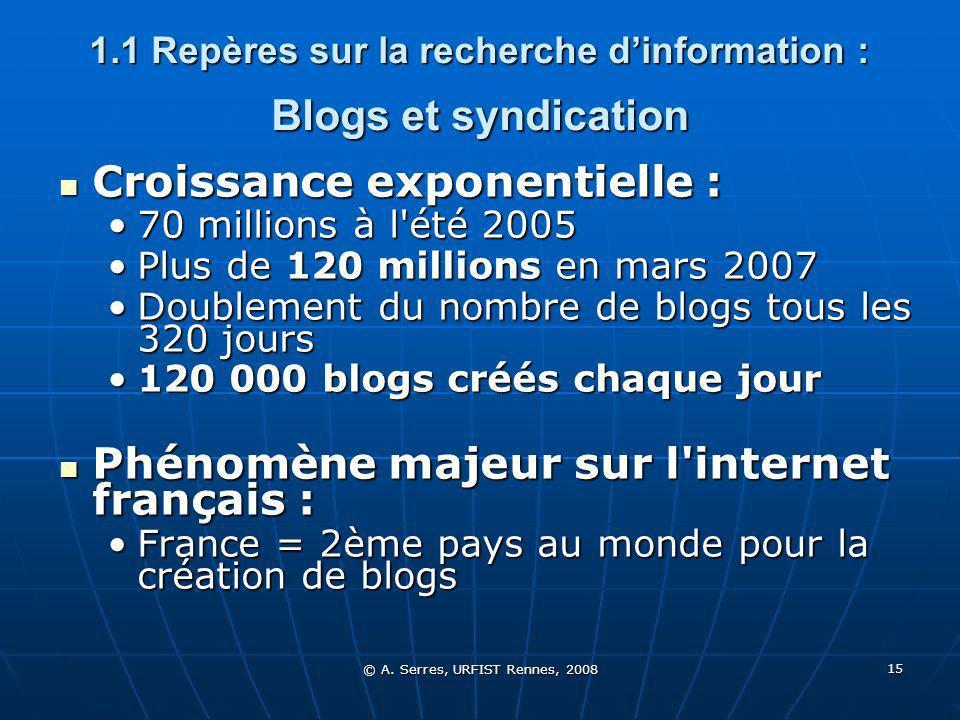 © A. Serres, URFIST Rennes, 2008 15 1.1 Repères sur la recherche dinformation : Blogs et syndication Croissance exponentielle : Croissance exponentiel