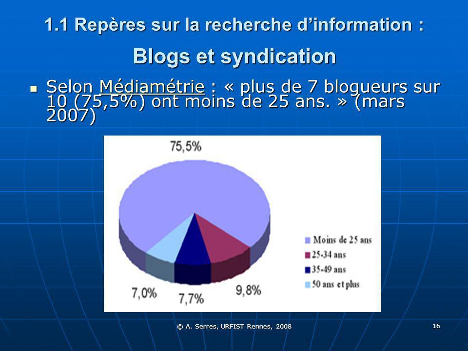 © A. Serres, URFIST Rennes, 2008 16 1.1 Repères sur la recherche dinformation : Blogs et syndication Selon Médiamétrie : « plus de 7 blogueurs sur 10