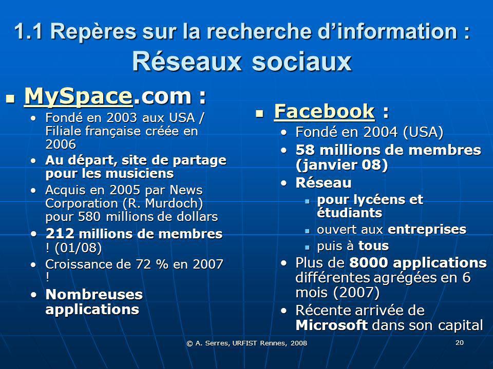 © A. Serres, URFIST Rennes, 2008 20 1.1 Repères sur la recherche dinformation : Réseaux sociaux MySpace.com : MySpace.com : MySpace Fondé en 2003 aux
