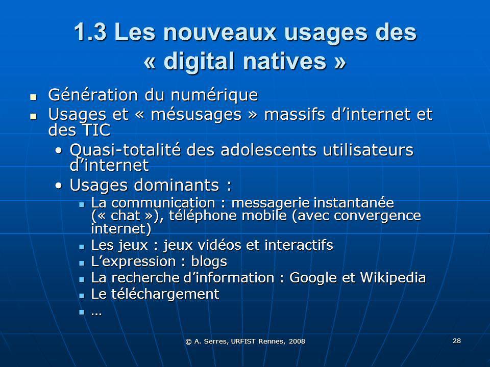 © A. Serres, URFIST Rennes, 2008 28 1.3 Les nouveaux usages des « digital natives » Génération du numérique Génération du numérique Usages et « mésusa