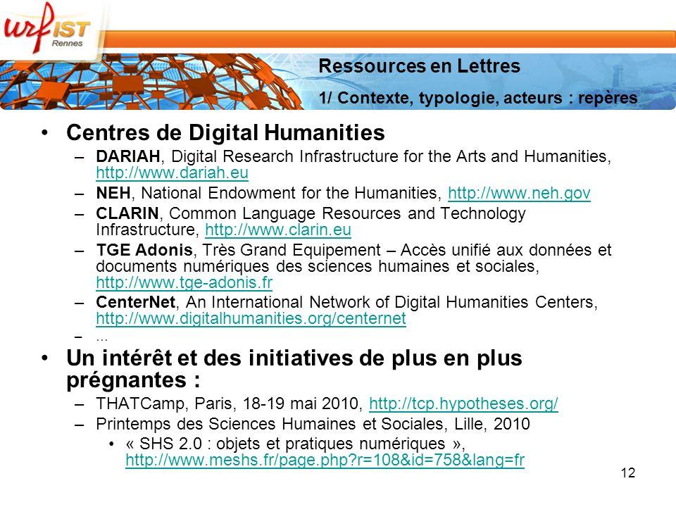 Centres de Digital Humanities –DARIAH, Digital Research Infrastructure for the Arts and Humanities, http://www.dariah.eu http://www.dariah.eu –NEH, National Endowment for the Humanities, http://www.neh.govhttp://www.neh.gov –CLARIN, Common Language Resources and Technology Infrastructure, http://www.clarin.euhttp://www.clarin.eu –TGE Adonis, Très Grand Equipement – Accès unifié aux données et documents numériques des sciences humaines et sociales, http://www.tge-adonis.fr http://www.tge-adonis.fr –CenterNet, An International Network of Digital Humanities Centers, http://www.digitalhumanities.org/centernet http://www.digitalhumanities.org/centernet –… Un intérêt et des initiatives de plus en plus prégnantes : –THATCamp, Paris, 18-19 mai 2010, http://tcp.hypotheses.org/http://tcp.hypotheses.org/ –Printemps des Sciences Humaines et Sociales, Lille, 2010 « SHS 2.0 : objets et pratiques numériques », http://www.meshs.fr/page.php?r=108&id=758&lang=fr http://www.meshs.fr/page.php?r=108&id=758&lang=fr 12 Ressources en Lettres 1/ Contexte, typologie, acteurs : repères