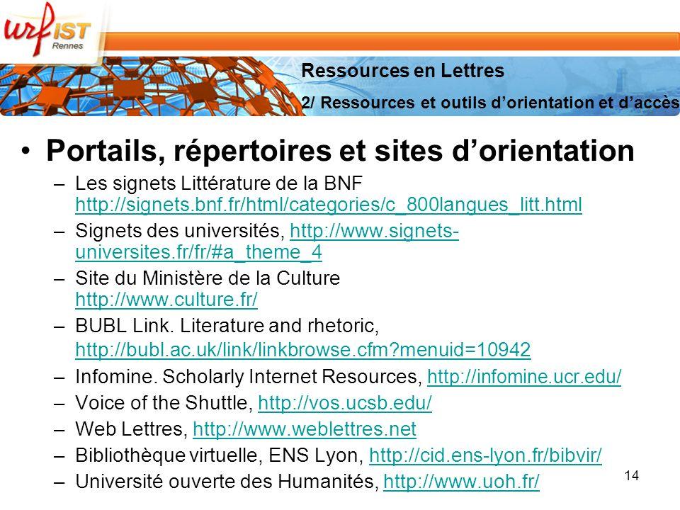 14 Portails, répertoires et sites dorientation –Les signets Littérature de la BNF http://signets.bnf.fr/html/categories/c_800langues_litt.html http://signets.bnf.fr/html/categories/c_800langues_litt.html –Signets des universités, http://www.signets- universites.fr/fr/#a_theme_4http://www.signets- universites.fr/fr/#a_theme_4 –Site du Ministère de la Culture http://www.culture.fr/ http://www.culture.fr/ –BUBL Link.