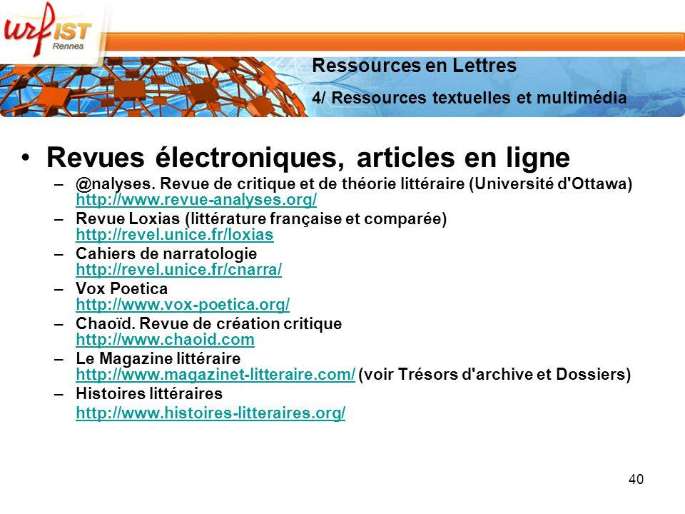 40 Revues électroniques, articles en ligne –@nalyses.