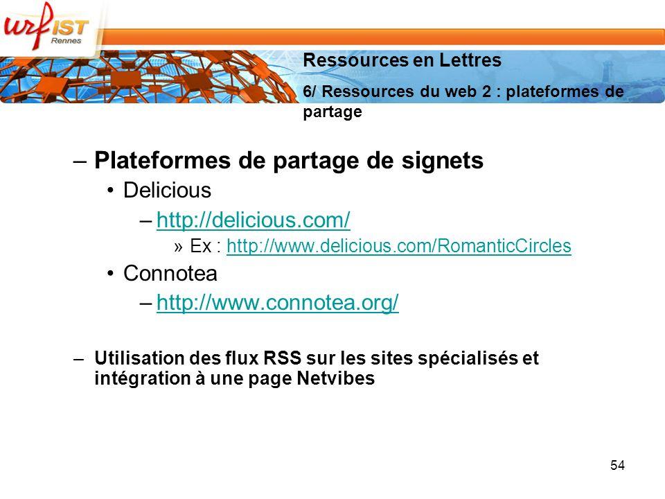 –Plateformes de partage de signets Delicious –http://delicious.com/http://delicious.com/ »Ex : http://www.delicious.com/RomanticCircleshttp://www.delicious.com/RomanticCircles Connotea –http://www.connotea.org/http://www.connotea.org/ –Utilisation des flux RSS sur les sites spécialisés et intégration à une page Netvibes 54 Ressources en Lettres 6/ Ressources du web 2 : plateformes de partage