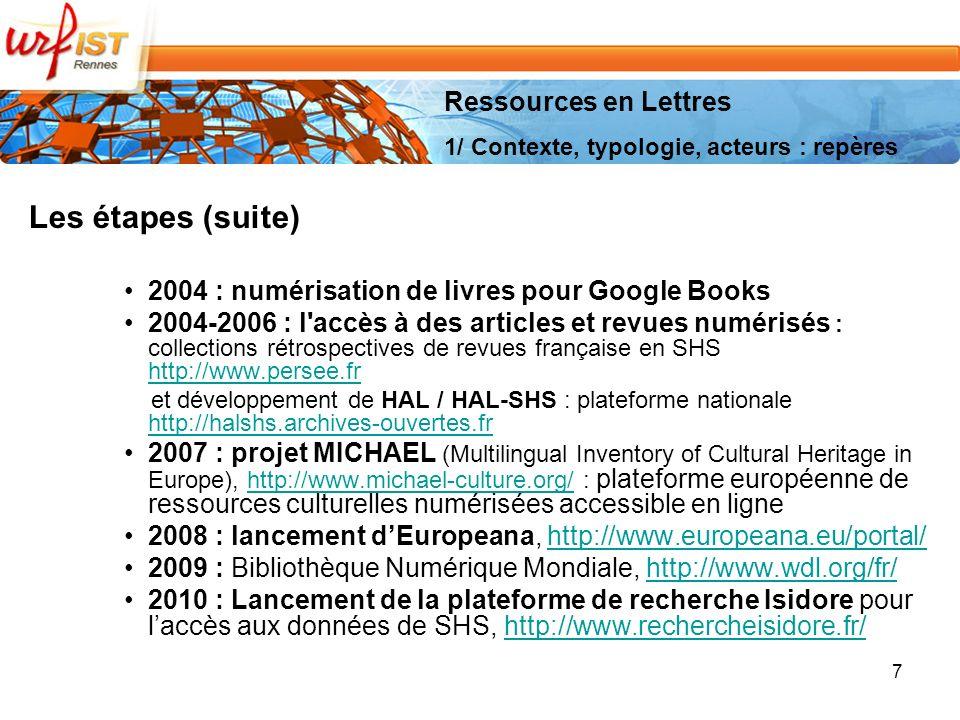 7 Les étapes (suite) 2004 : numérisation de livres pour Google Books 2004-2006 : l accès à des articles et revues numérisés : collections rétrospectives de revues française en SHS http://www.persee.fr http://www.persee.fr et développement de HAL / HAL-SHS : plateforme nationale http://halshs.archives-ouvertes.fr http://halshs.archives-ouvertes.fr 2007 : projet MICHAEL (Multilingual Inventory of Cultural Heritage in Europe), http://www.michael-culture.org/ : plateforme européenne de ressources culturelles numérisées accessible en lignehttp://www.michael-culture.org/ 2008 : lancement dEuropeana, http://www.europeana.eu/portal/http://www.europeana.eu/portal/ 2009 : Bibliothèque Numérique Mondiale, http://www.wdl.org/fr/http://www.wdl.org/fr/ 2010 : Lancement de la plateforme de recherche Isidore pour laccès aux données de SHS, http://www.rechercheisidore.fr/http://www.rechercheisidore.fr/ Ressources en Lettres 1/ Contexte, typologie, acteurs : repères