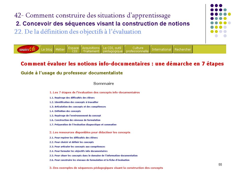 © P.Duplessis, A. Serres, 200889 42- Comment construire des situations dapprentissage 2.