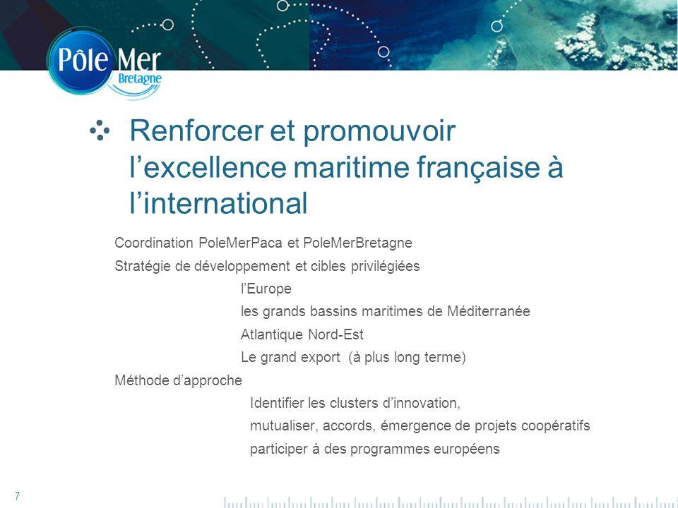 7 Renforcer et promouvoir lexcellence maritime française à linternational Coordination PoleMerPaca et PoleMerBretagne Stratégie de développement et cibles privilégiées lEurope les grands bassins maritimes de Méditerranée Atlantique Nord-Est Le grand export (à plus long terme) Méthode dapproche Identifier les clusters dinnovation, mutualiser, accords, émergence de projets coopératifs participer à des programmes européens