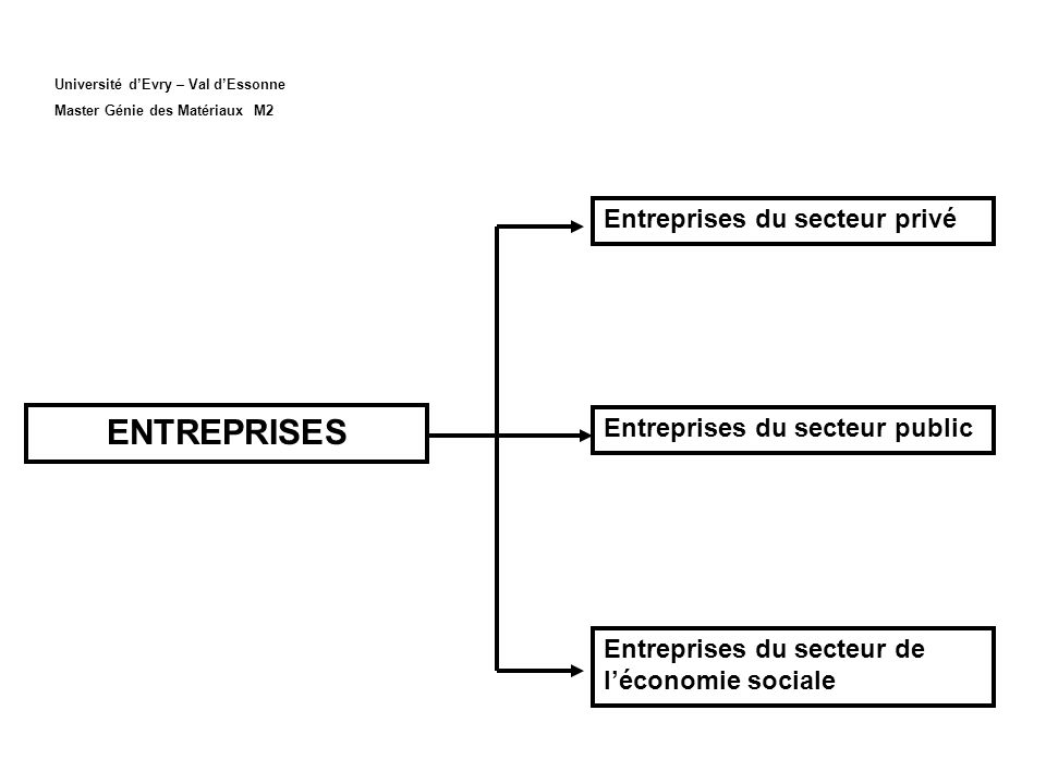 Université dEvry – Val dEssonne Master Génie des Matériaux M2 Entreprises du secteur privé Entreprises du secteur public Entreprises du secteur de léconomie sociale ENTREPRISES