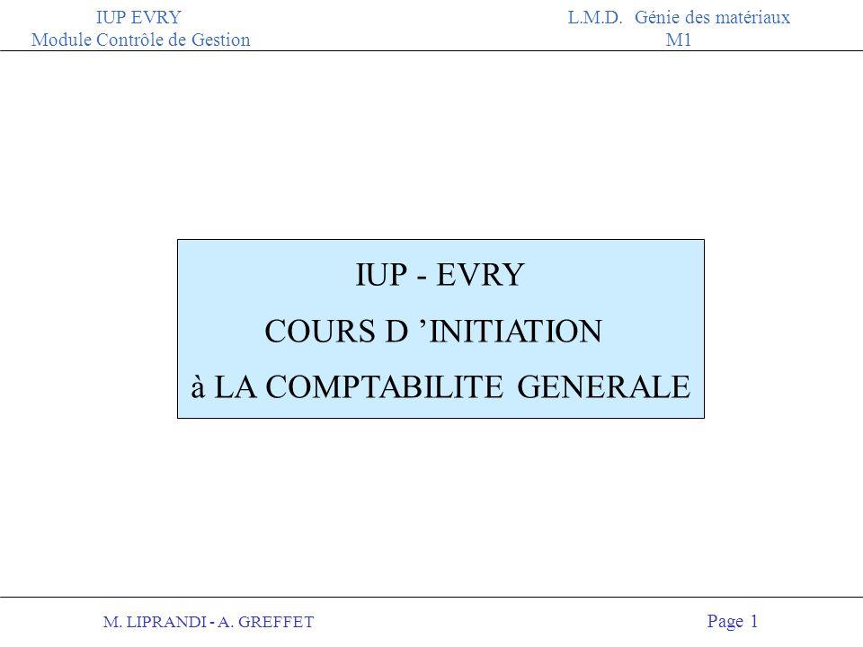 M.LIPRANDI - A. GREFFET Page 11 IUP EVRY Module Contrôle de Gestion L.M.D.