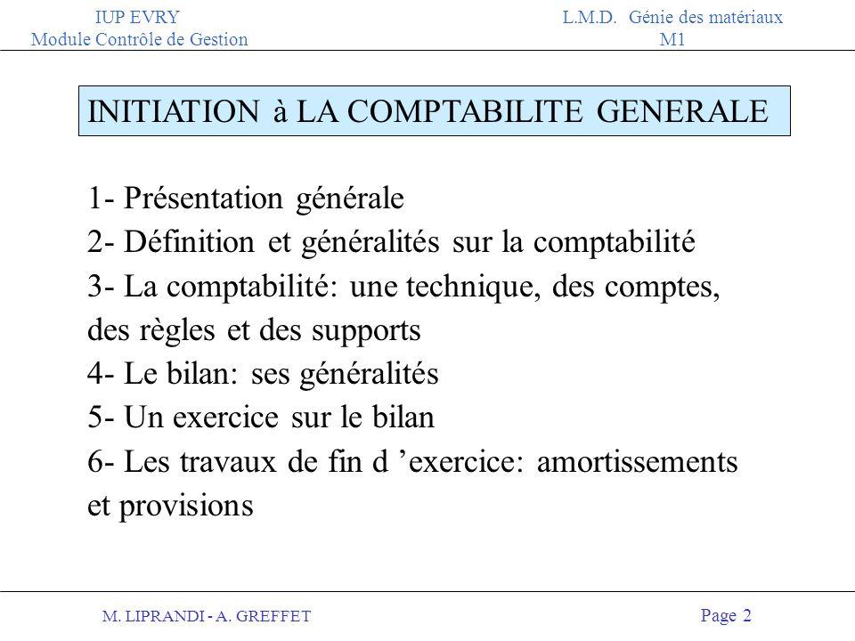 M. LIPRANDI - A. GREFFET Page 1 IUP EVRY Module Contrôle de Gestion L.M.D. Génie des matériaux M1 IUP - EVRY COURS D INITIATION à LA COMPTABILITE GENE