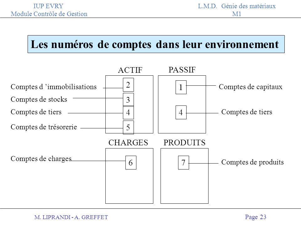 M. LIPRANDI - A. GREFFET Page 22 IUP EVRY Module Contrôle de Gestion L.M.D. Génie des matériaux M1 Illustration de comptes et de sous-comptes 7 = Comp