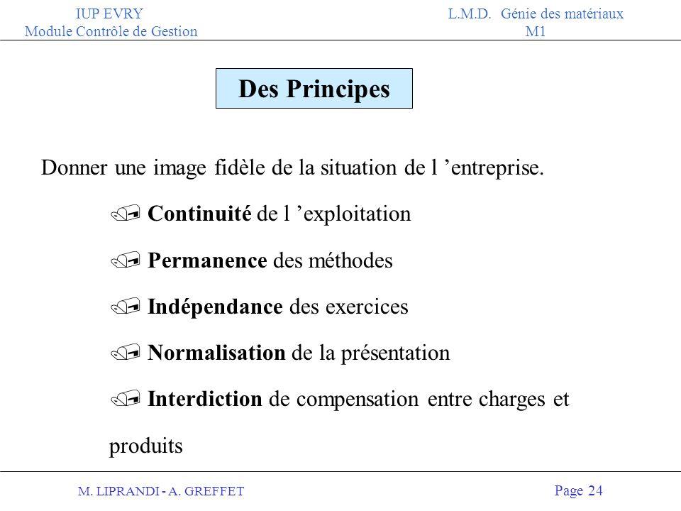 M. LIPRANDI - A. GREFFET Page 23 IUP EVRY Module Contrôle de Gestion L.M.D. Génie des matériaux M1 Les numéros de comptes dans leur environnement ACTI