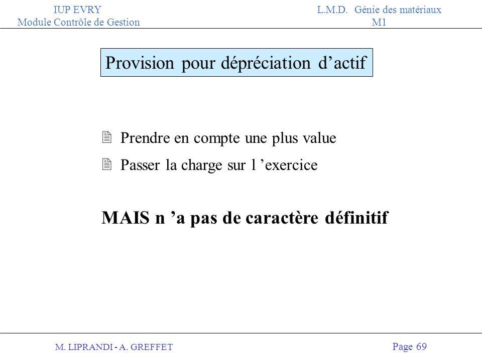 M. LIPRANDI - A. GREFFET Page 68 IUP EVRY Module Contrôle de Gestion L.M.D. Génie des matériaux M1 LES PROVISIONS Ce sont des charges incertaines Il e