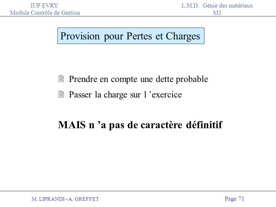 M. LIPRANDI - A. GREFFET Page 70 IUP EVRY Module Contrôle de Gestion L.M.D. Génie des matériaux M1 Exemples Provision pour dépréciation dactif 2 Provi