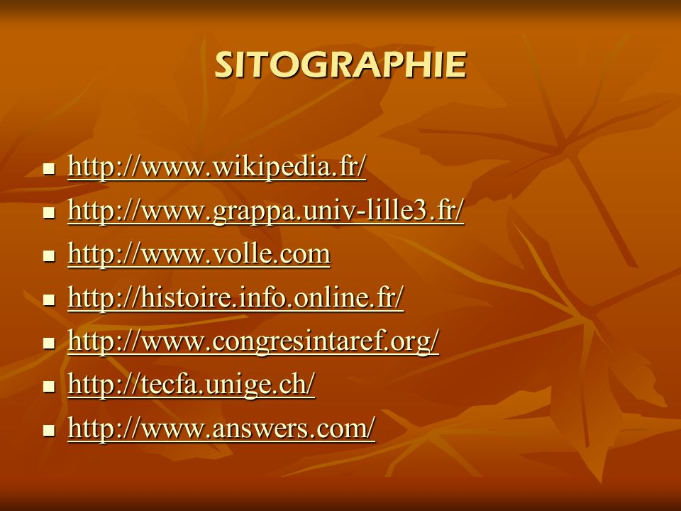 SITOGRAPHIE http://www.wikipedia.fr/ http://www.wikipedia.fr/ http://www.wikipedia.fr/ http://www.grappa.univ-lille3.fr/ http://www.grappa.univ-lille3