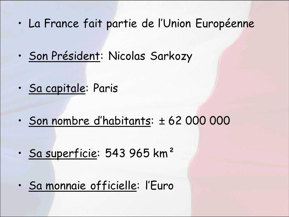 La France fait partie de lUnion Européenne Son Président: Nicolas Sarkozy Sa capitale: Paris Son nombre dhabitants: ± 62 000 000 Sa superficie: 543 96