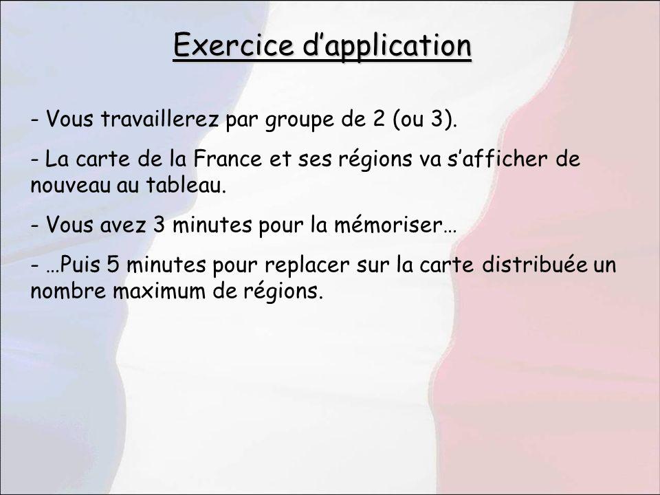 - Vous travaillerez par groupe de 2 (ou 3). - La carte de la France et ses régions va safficher de nouveau au tableau. - Vous avez 3 minutes pour la m
