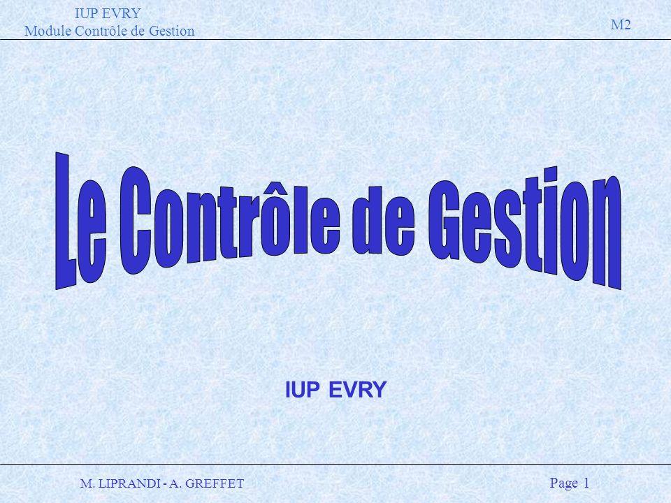 IUP EVRY Module Contrôle de Gestion M2 M. LIPRANDI - A. GREFFET Page 1 IUP EVRY
