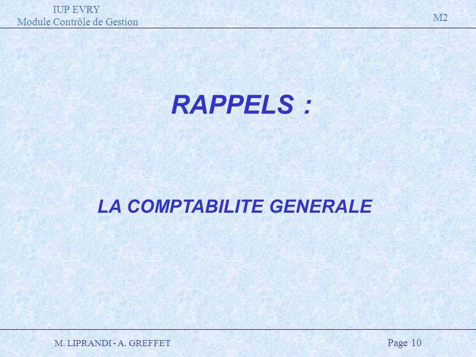 IUP EVRY Module Contrôle de Gestion M2 M. LIPRANDI - A. GREFFET Page 10 LA COMPTABILITE GENERALE RAPPELS :