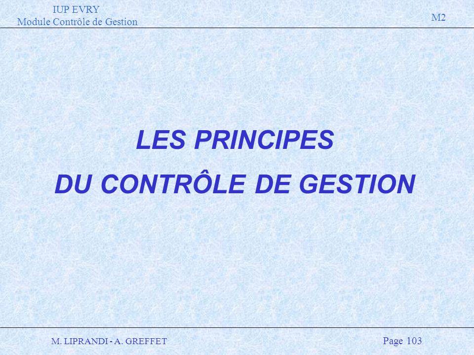 IUP EVRY Module Contrôle de Gestion M2 M. LIPRANDI - A. GREFFET Page 103 LES PRINCIPES DU CONTRÔLE DE GESTION