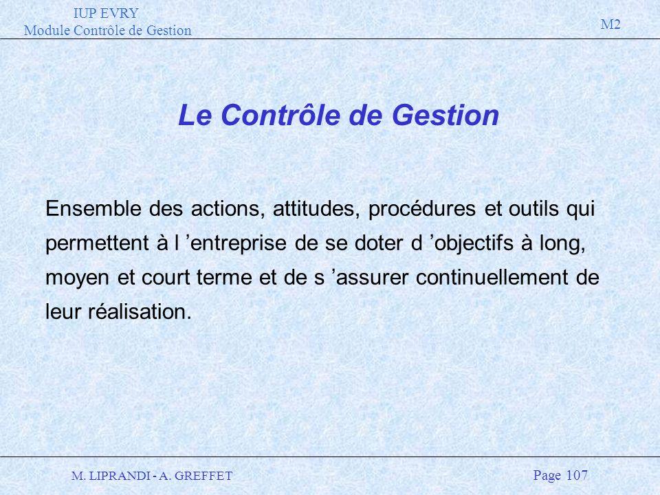 IUP EVRY Module Contrôle de Gestion M2 M. LIPRANDI - A. GREFFET Page 107 Le Contrôle de Gestion Ensemble des actions, attitudes, procédures et outils