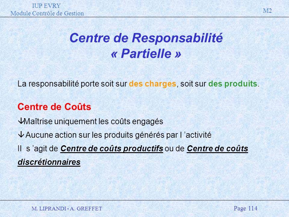 IUP EVRY Module Contrôle de Gestion M2 M. LIPRANDI - A. GREFFET Page 114 Centre de Responsabilité « Partielle » La responsabilité porte soit sur des c