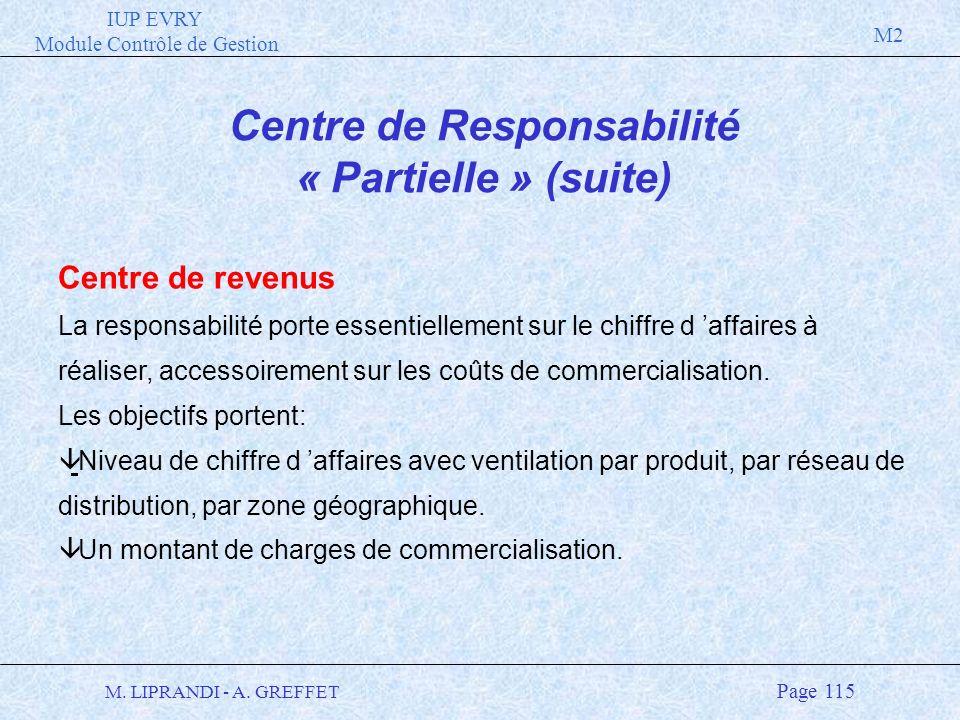 IUP EVRY Module Contrôle de Gestion M2 M. LIPRANDI - A. GREFFET Page 115 Centre de Responsabilité « Partielle » (suite) Centre de revenus La responsab