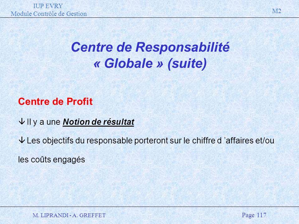 IUP EVRY Module Contrôle de Gestion M2 M. LIPRANDI - A. GREFFET Page 117 Centre de Responsabilité « Globale » (suite) Centre de Profit â Il y a une No
