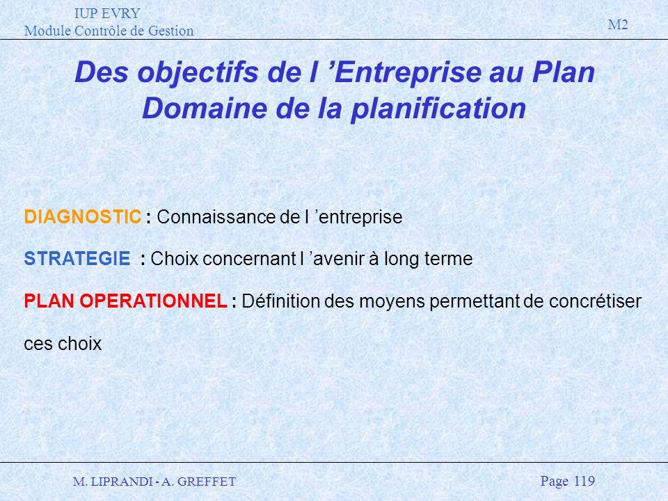 IUP EVRY Module Contrôle de Gestion M2 M. LIPRANDI - A. GREFFET Page 119 Des objectifs de l Entreprise au Plan Domaine de la planification DIAGNOSTIC