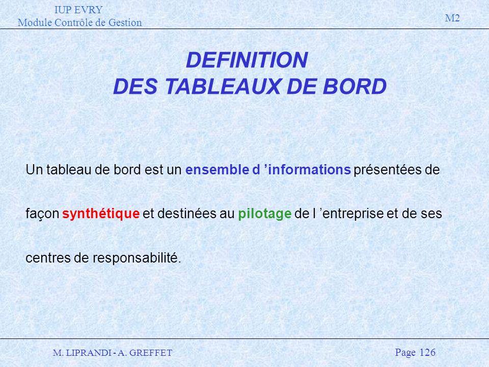 IUP EVRY Module Contrôle de Gestion M2 M. LIPRANDI - A. GREFFET Page 126 DEFINITION DES TABLEAUX DE BORD Un tableau de bord est un ensemble d informat