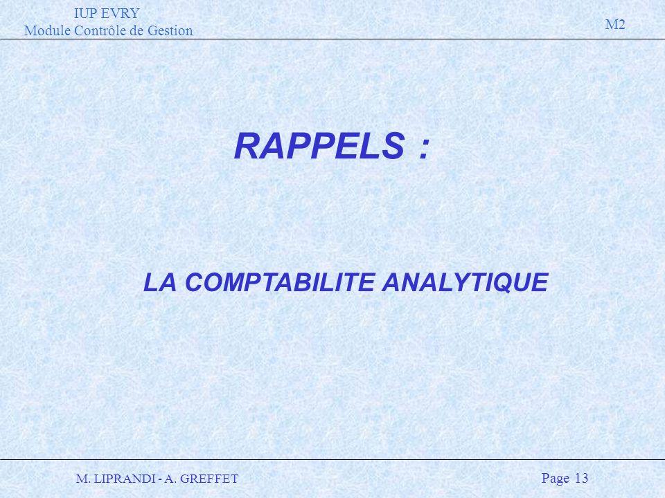 IUP EVRY Module Contrôle de Gestion M2 M. LIPRANDI - A. GREFFET Page 13 LA COMPTABILITE ANALYTIQUE RAPPELS :