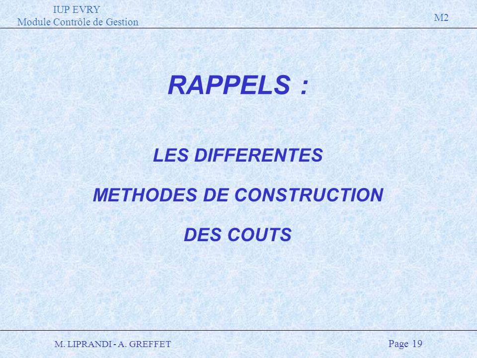 IUP EVRY Module Contrôle de Gestion M2 M. LIPRANDI - A. GREFFET Page 19 LES DIFFERENTES METHODES DE CONSTRUCTION DES COUTS RAPPELS :