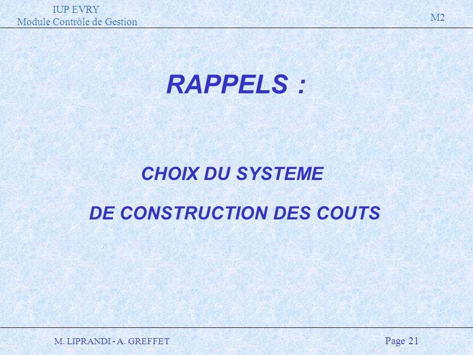 IUP EVRY Module Contrôle de Gestion M2 M. LIPRANDI - A. GREFFET Page 21 CHOIX DU SYSTEME DE CONSTRUCTION DES COUTS RAPPELS :