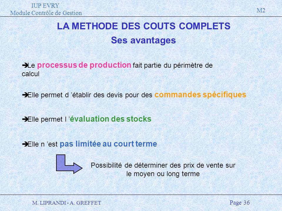 IUP EVRY Module Contrôle de Gestion M2 M. LIPRANDI - A. GREFFET Page 36 LA METHODE DES COUTS COMPLETS Ses avantages è Le processus de production fait