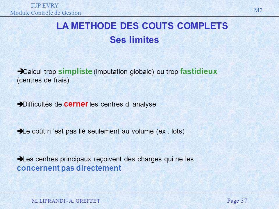 IUP EVRY Module Contrôle de Gestion M2 M. LIPRANDI - A. GREFFET Page 37 LA METHODE DES COUTS COMPLETS Ses limites è Les centres principaux reçoivent d
