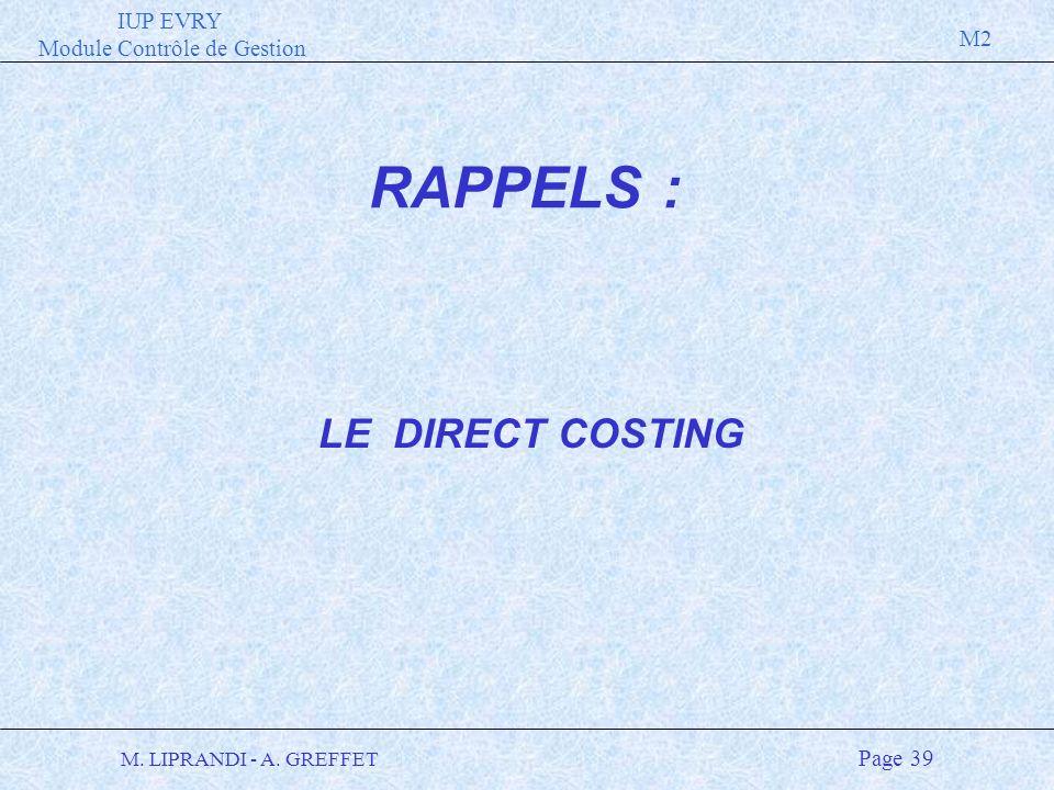 IUP EVRY Module Contrôle de Gestion M2 M. LIPRANDI - A. GREFFET Page 39 LE DIRECT COSTING RAPPELS :