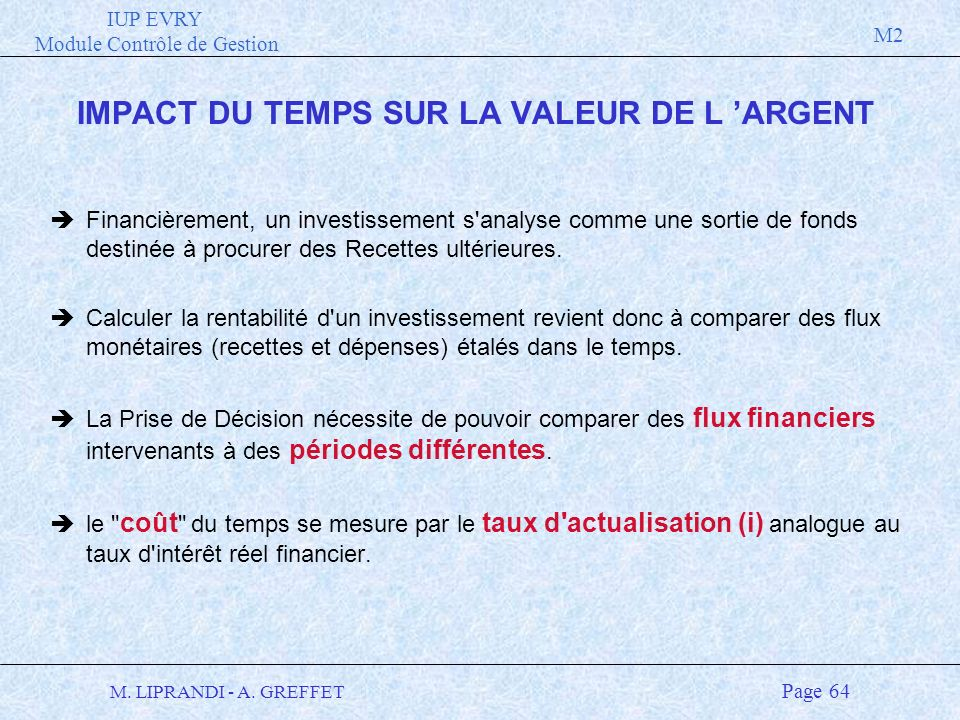IUP EVRY Module Contrôle de Gestion M2 M. LIPRANDI - A. GREFFET Page 64 IMPACT DU TEMPS SUR LA VALEUR DE L ARGENT èFinancièrement, un investissement s