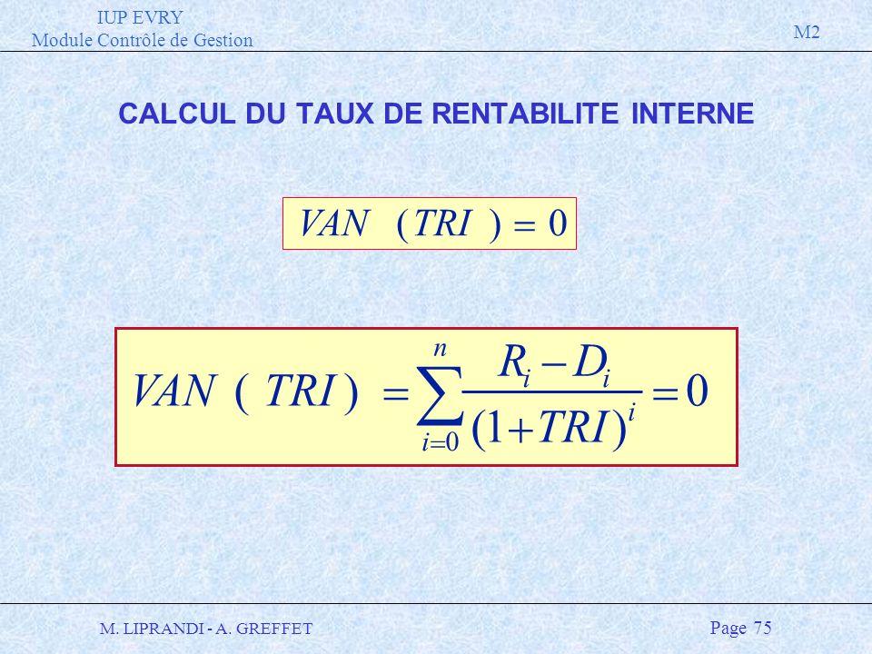 IUP EVRY Module Contrôle de Gestion M2 M. LIPRANDI - A. GREFFET Page 75 VANTRI RD ii i i n () () 1 0 0 VANTRI() 0 CALCUL DU TAUX DE RENTABILITE INTERN