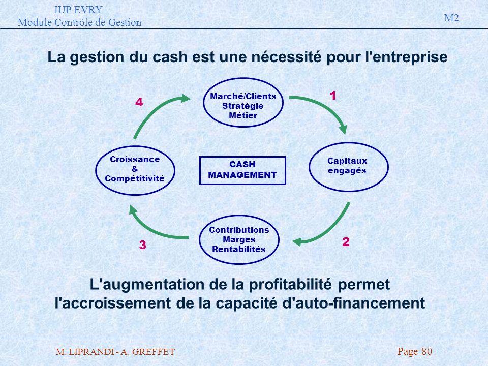 IUP EVRY Module Contrôle de Gestion M2 M. LIPRANDI - A. GREFFET Page 80 La gestion du cash est une nécessité pour l'entreprise L'augmentation de la pr