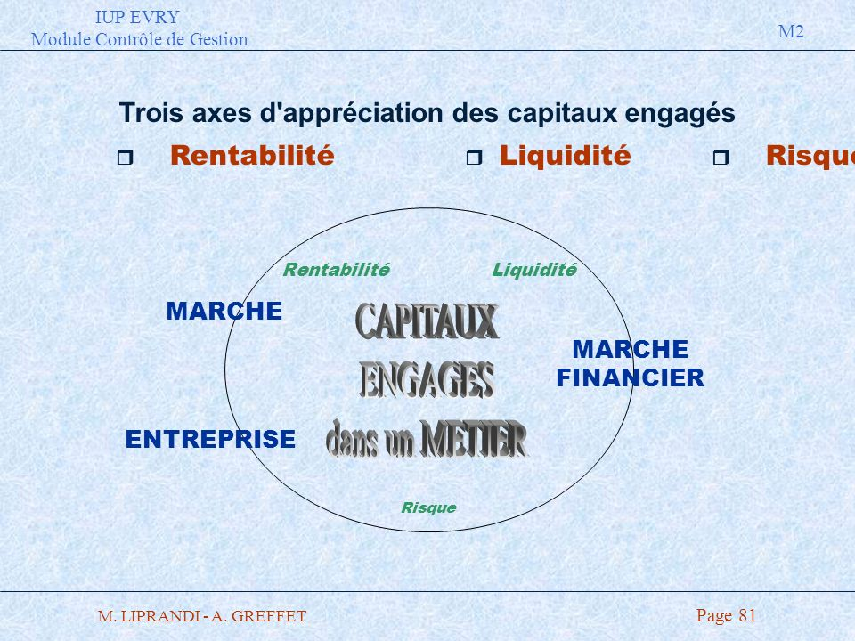 IUP EVRY Module Contrôle de Gestion M2 M. LIPRANDI - A. GREFFET Page 81 Trois axes d'appréciation des capitaux engagés r Rentabilité r Liquidité r Ris