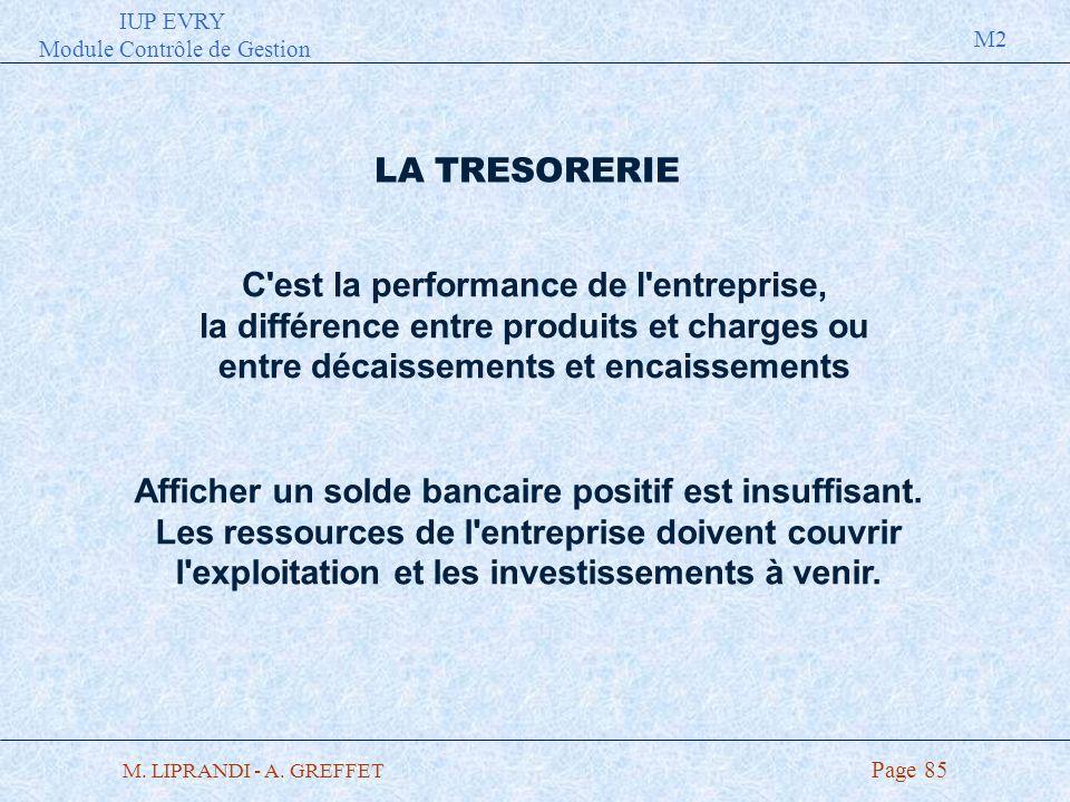IUP EVRY Module Contrôle de Gestion M2 M. LIPRANDI - A. GREFFET Page 85 LA TRESORERIE C'est la performance de l'entreprise, la différence entre produi