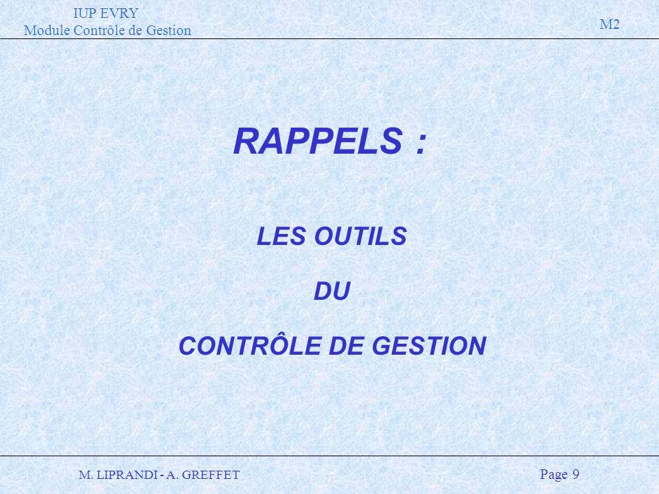 IUP EVRY Module Contrôle de Gestion M2 M. LIPRANDI - A. GREFFET Page 9 LES OUTILS DU CONTRÔLE DE GESTION RAPPELS :
