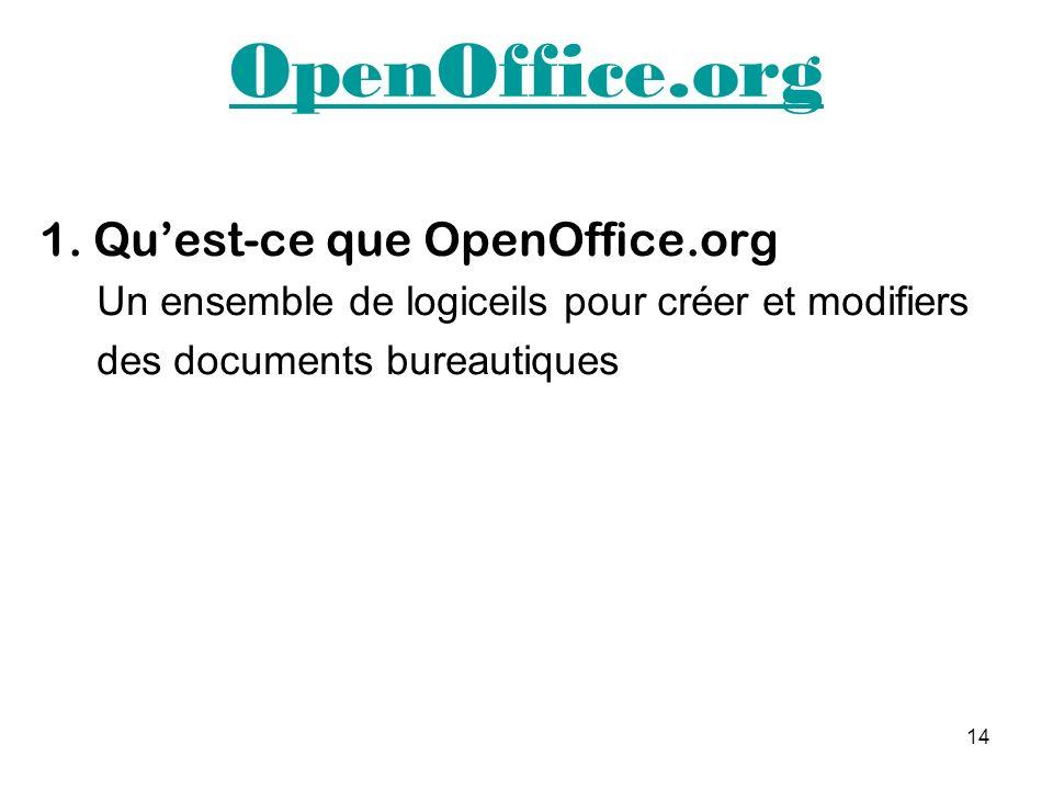14 OpenOffice.org 1. Quest-ce que OpenOffice.org Un ensemble de logiceils pour créer et modifiers des documents bureautiques