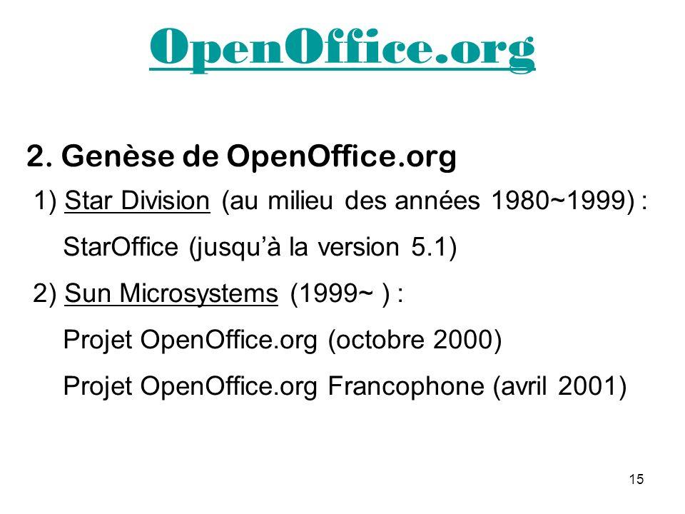 15 OpenOffice.org 2. Genèse de OpenOffice.org 1) Star Division (au milieu des années 1980~1999) : StarOffice (jusquà la version 5.1) 2) Sun Microsyste