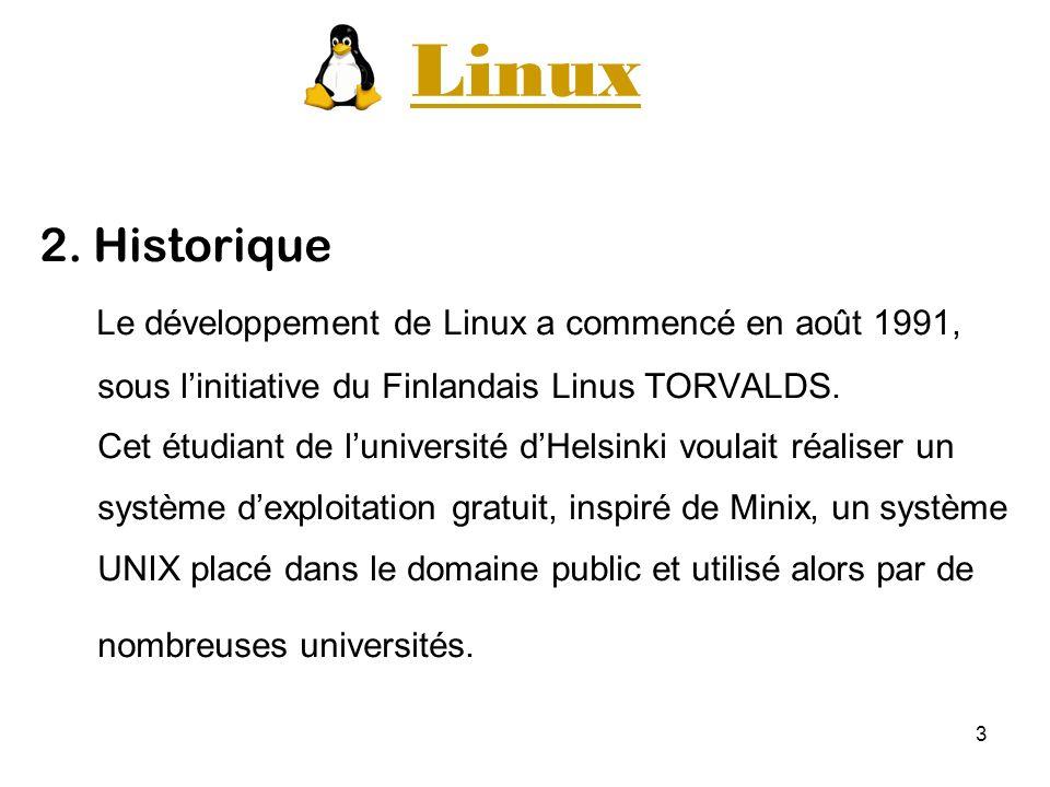 3 Linux 2. Historique Le développement de Linux a commencé en août 1991, sous linitiative du Finlandais Linus TORVALDS. Cet étudiant de luniversité dH