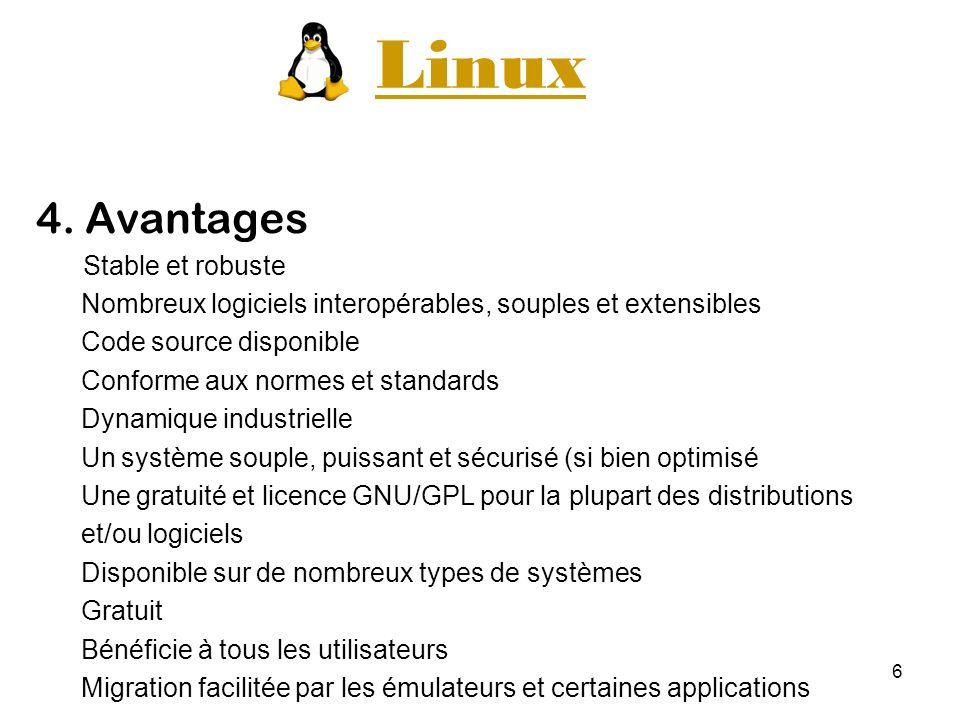 6 Linux 4. Avantages Stable et robuste Nombreux logiciels interopérables, souples et extensibles Code source disponible Conforme aux normes et standar