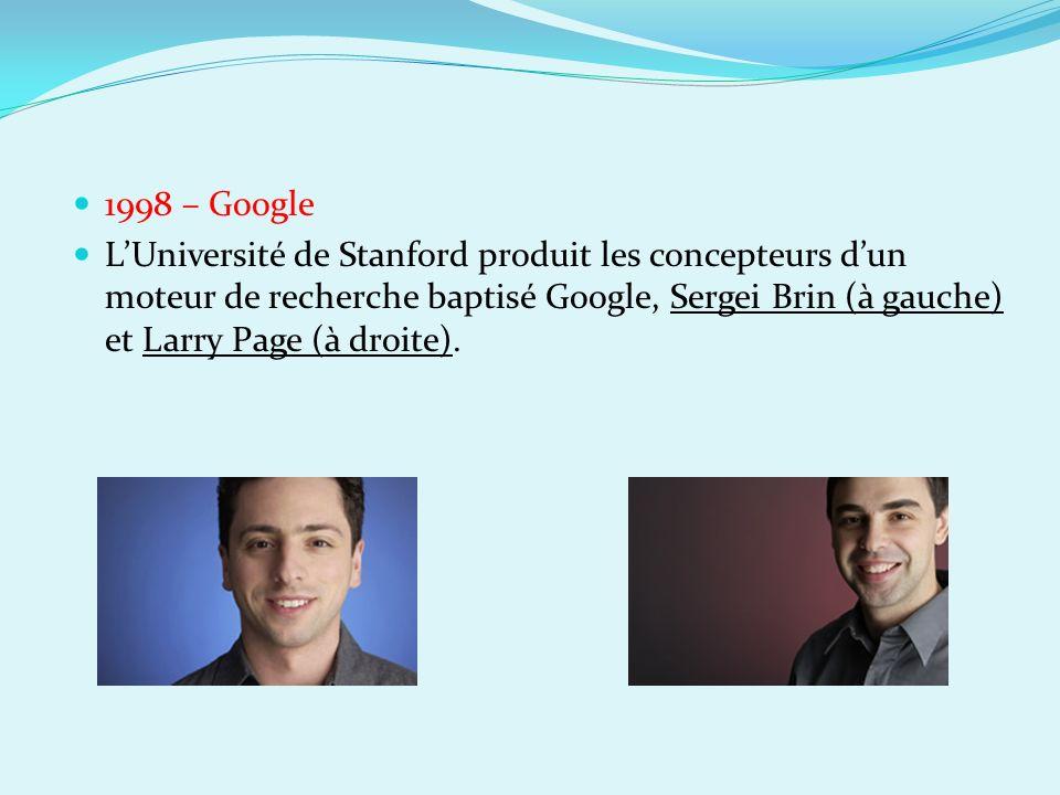 1998 – Google LUniversité de Stanford produit les concepteurs dun moteur de recherche baptisé Google, Sergei Brin (à gauche) et Larry Page (à droite).