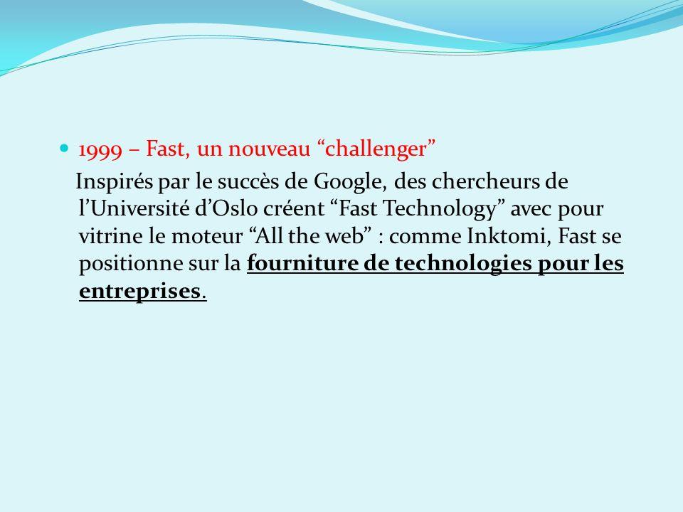 1999 – Fast, un nouveau challenger Inspirés par le succès de Google, des chercheurs de lUniversité dOslo créent Fast Technology avec pour vitrine le m