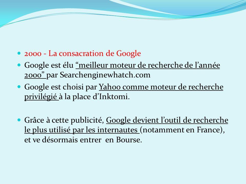 2000 - La consacration de Google Google est élu meilleur moteur de recherche de lannée 2000 par Searchenginewhatch.com Google est choisi par Yahoo com