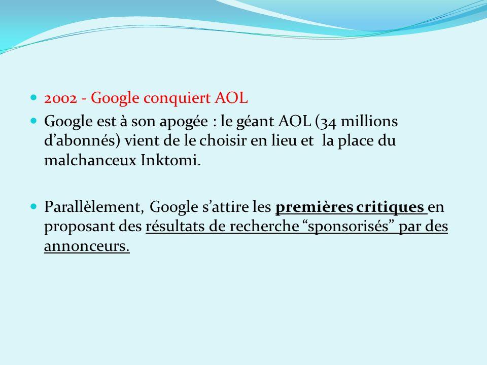2002 - Google conquiert AOL Google est à son apogée : le géant AOL (34 millions dabonnés) vient de le choisir en lieu et la place du malchanceux Inkto